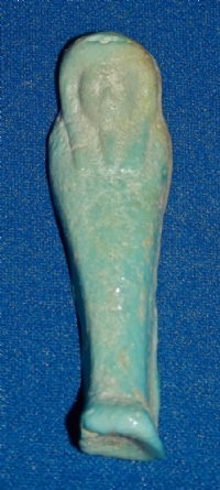 "A small, pleasant Ancient Egyptian turquoise glazed faience ""Ushabti"" figure SOLD"